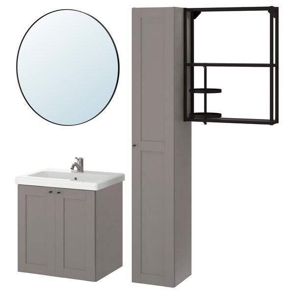 ENHET / TVÄLLEN Baderomsmøbler, 13 deler, grå ramme/antrasitt Lillsvan blandebatteri, 64x43x65 cm