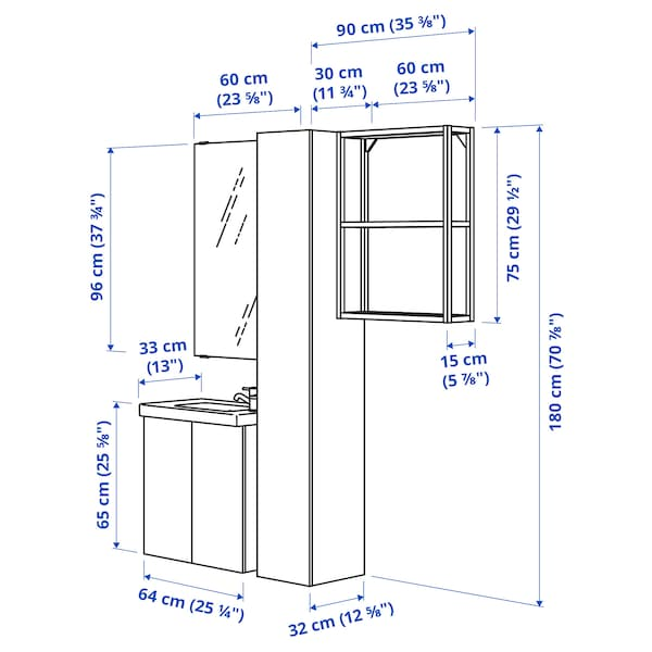 ENHET / TVÄLLEN Baderomsmøbler, 13 deler, grå ramme/antrasitt Pilkån blandebatteri, 64x33x65 cm