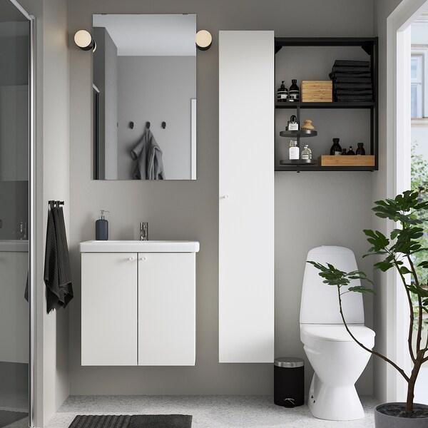 ENHET / TVÄLLEN Baderomsmøbler, 13 deler, hvit/antrasitt Pilkån blandebatteri, 64x43x65 cm