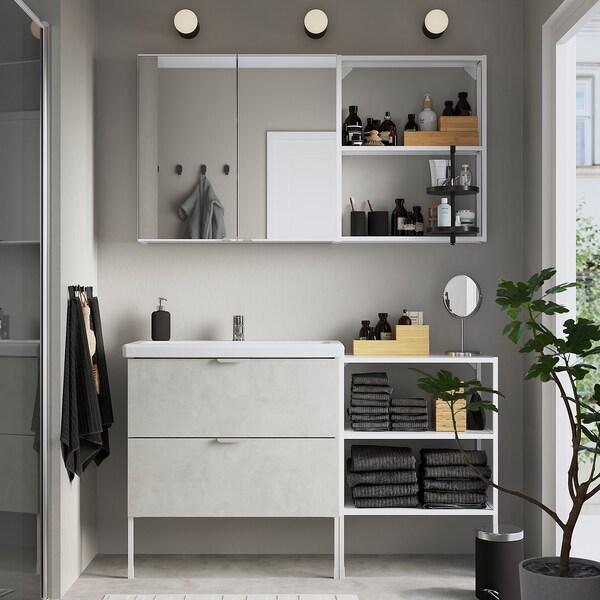 ENHET / TVÄLLEN Baderomsmøbler, 15 deler, betongmønstret/hvit Pilkån blandebatteri, 142x43x87 cm