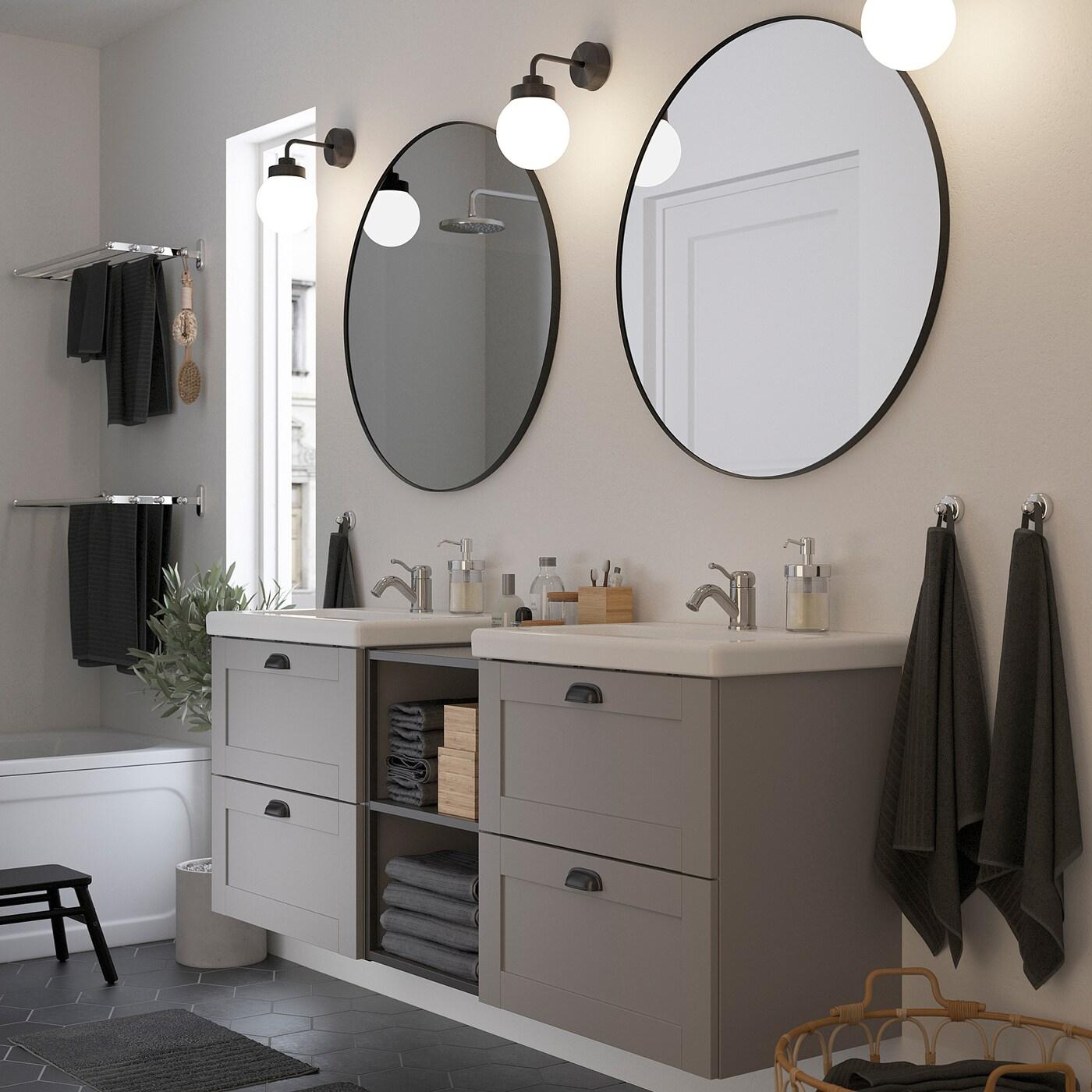 ENHET / TVÄLLEN Baderomsmøbler, 15 deler, grå ramme/antrasitt Lillsvan blandebatteri, 164x43x65 cm