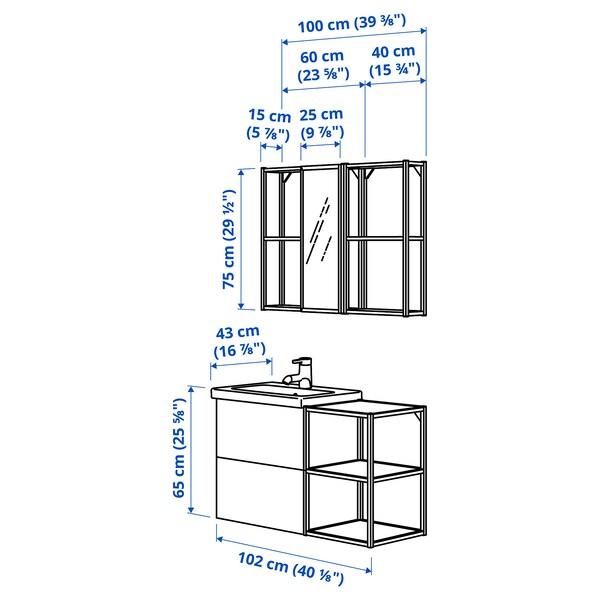 ENHET / TVÄLLEN Baderomsmøbler, 15 deler, hvit/Pilkån blandebatteri, 102x43x65 cm