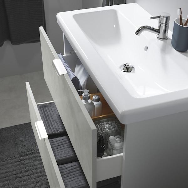 ENHET / TVÄLLEN Servantskap med 2 skuffer, betongmønstret/hvit Pilkån blandebatteri, 84x43x87 cm