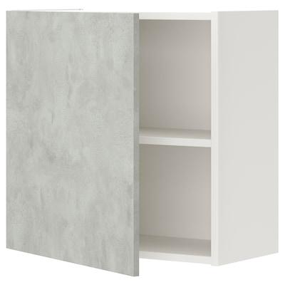 ENHET Veggskap med 1 hylleplate/dør, hvit/betongmønstret, 60x32x60 cm