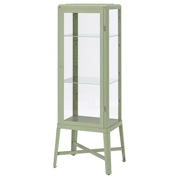 FABRIKÖR vitrineskap lys grågrønn 57 cm 47 cm 150 cm 10 kg