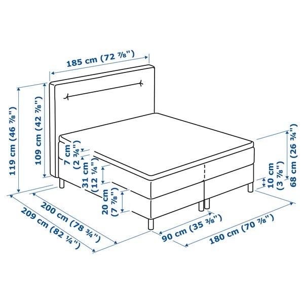 FINNSNES Kontinentalseng, Hokkåsen fast/Tustna blå, 180x200 cm