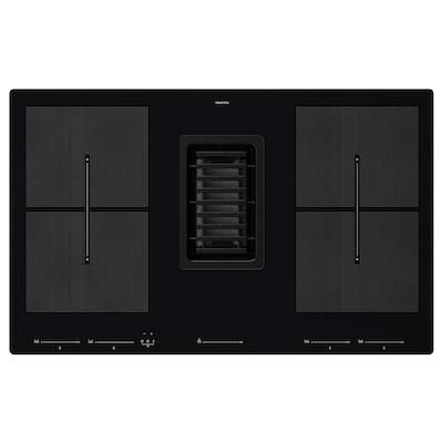 FÖRDELAKTIG Induksjonstopp/integrert ventilator, IKEA 700 svart, 83 cm