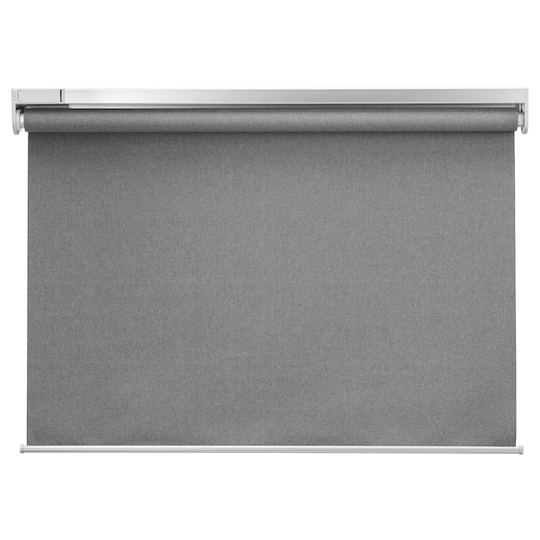 FYRTUR Lystett rullegardin, trådløs/batteridrevet grå, 140x195 cm