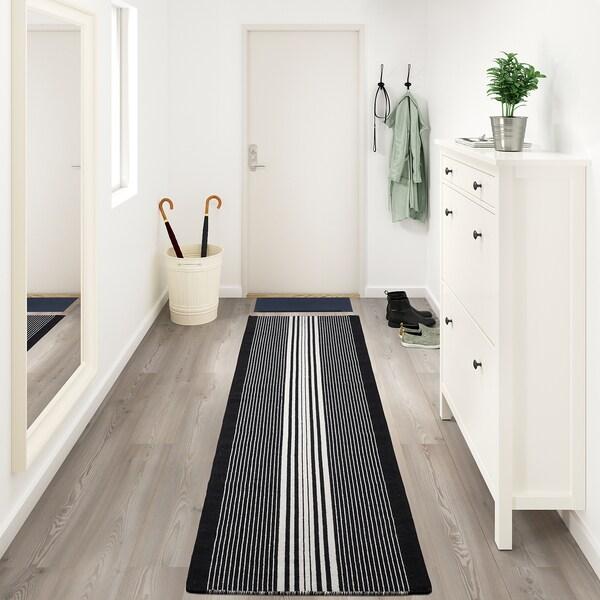 GIERSLEV Teppe, flatvevd, svart/hvit, 70x300 cm