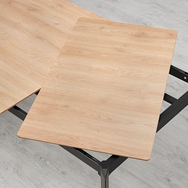 GILLANDA Uttrekkbart bord, eik/svart, 180/240x100 cm