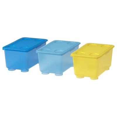 GLIS Boks med lokk, gul/blå, 17x10 cm