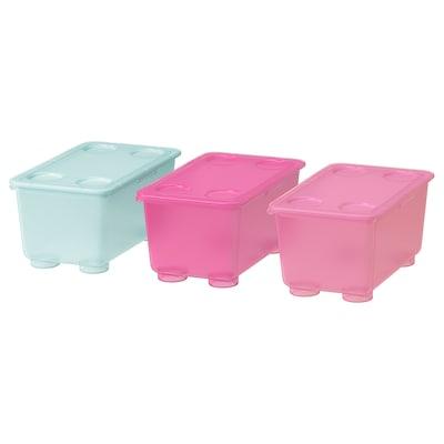 GLIS Boks med lokk, rosa/turkis, 17x10 cm
