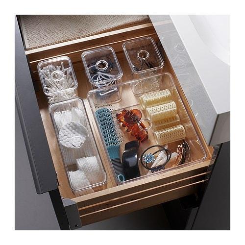 GODMORGON Boks m lokk, sett med 5 stk IKEA Holder orden på smykker, sminke og flasker.