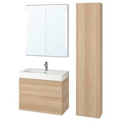 GODMORGON / BRÅVIKEN Baderomsmøbler, 5 deler, hvitbeiset eikemønster/Brogrund blandebatteri, 80 cm