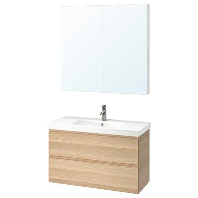 GODMORGON / ODENSVIK Baderomsmøbler, 4 deler, hvitbeiset eikemønster/Dalskär blandebatteri, 103 cm
