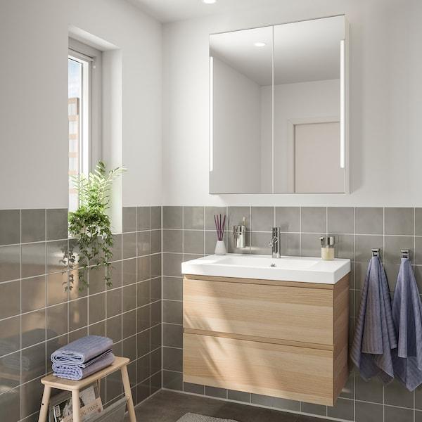 GODMORGON / ODENSVIK Baderomsmøbler, 4 deler, hvitbeiset eikemønster/Dalskär blandebatteri, 83 cm