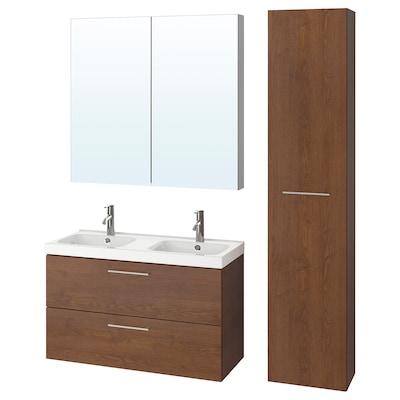 GODMORGON / ODENSVIK Baderomsmøbler, 6 deler, brunbeiset askemønster/Dalskär blandebatteri, 103x49x64 cm