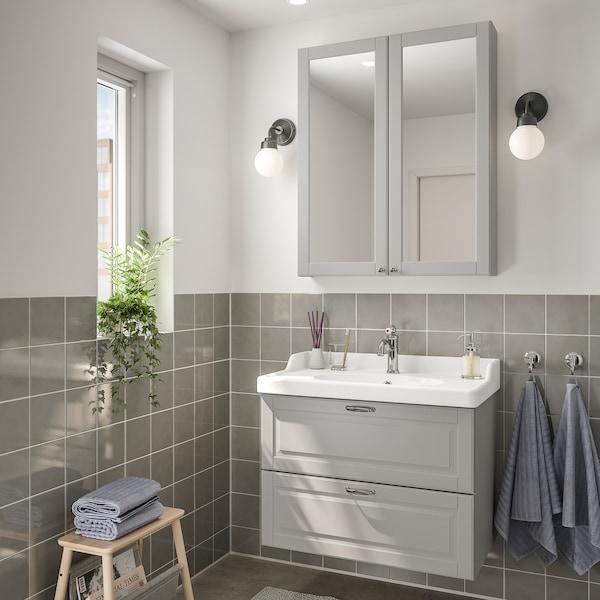 GODMORGON / RÄTTVIKEN Baderomsmøbler, 4 deler, Kasjön lys grå/Hamnskär blandebatteri, 82 cm