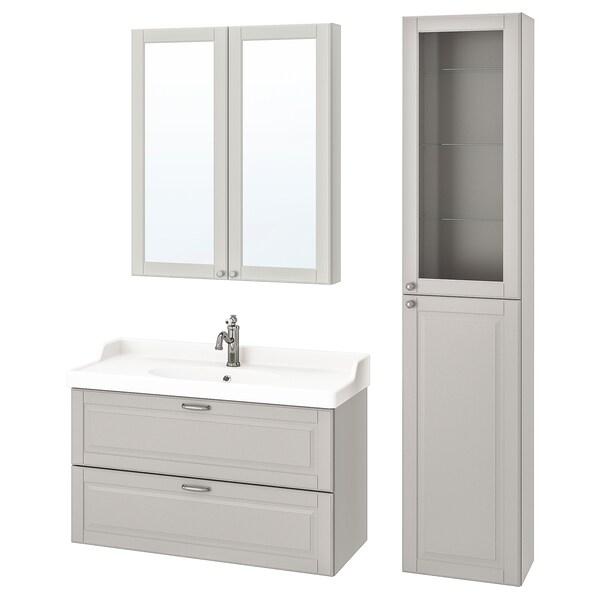 GODMORGON / RÄTTVIKEN Baderomsmøbler, 5 deler, Kasjön lys grå/Hamnskär blandebatteri, 102 cm