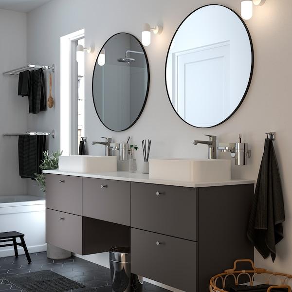 GODMORGON/TOLKEN / HÖRVIK Baderomsmøbler, 10 deler, Gillburen mørk grå/marmormønstret Brogrund blandebatteri, 182x49x72 cm
