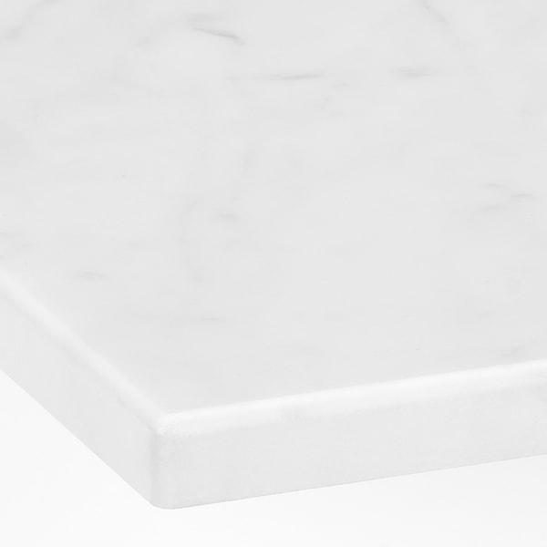 GODMORGON/TOLKEN / KATTEVIK Baderomsmøbler, 5 deler, brunbeiset askemønster/marmormønstret Brogrund blandebatteri, 82 cm