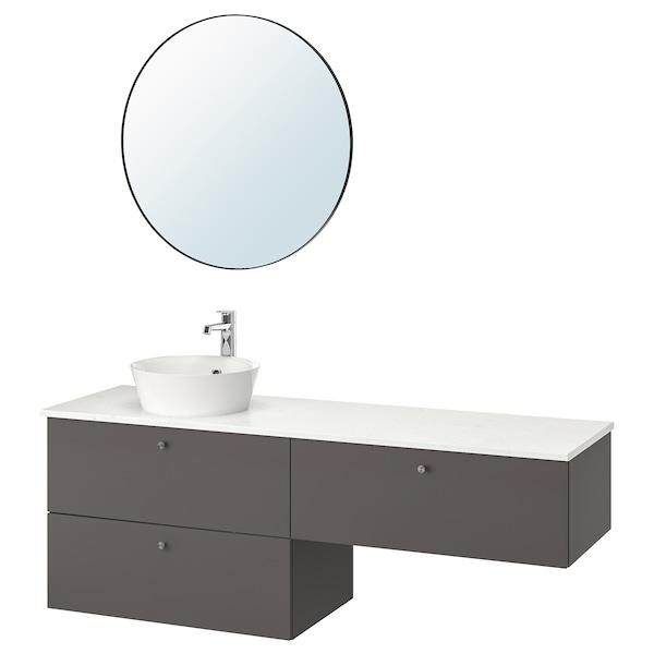 GODMORGON/TOLKEN / KATTEVIK Baderomsmøbler, 6 deler, Gillburen mørk grå/marmormønstret Brogrund blandebatteri, 162x49x75 cm