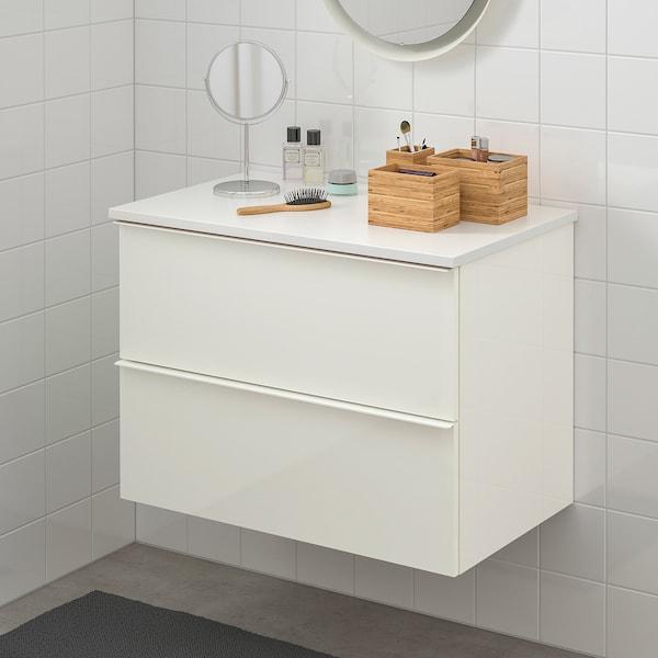 GODMORGON / TOLKEN Servantskap med 2 skuffer, høyglans hvit/hvit, 82x49x60 cm