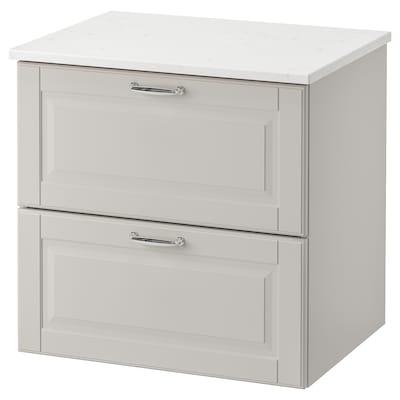 GODMORGON / TOLKEN Servantskap med 2 skuffer, Kasjön lys grå/marmormønstret, 62x49x60 cm