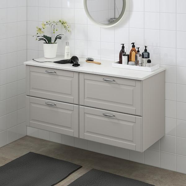 GODMORGON / TOLKEN Servantskap med 4 skuffer, Kasjön lys grå/marmormønstret, 122x49x60 cm