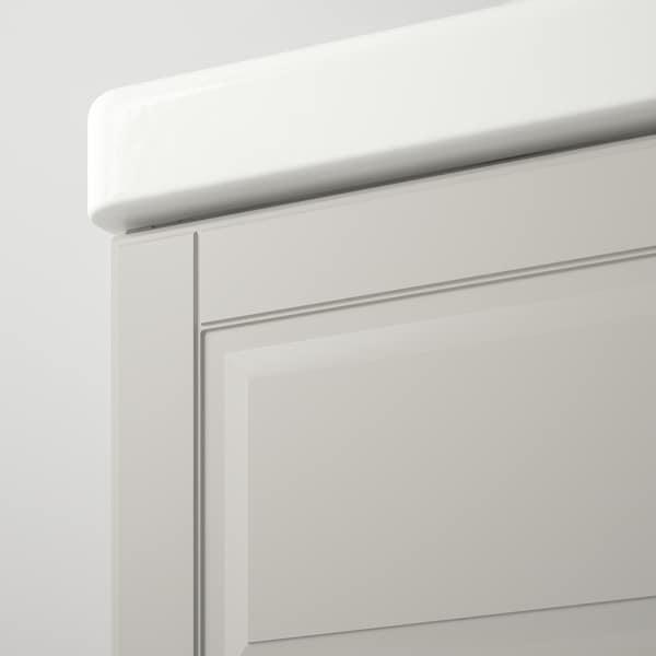 GODMORGON / TOLKEN Servantskap med 4 skuffer, Kasjön lys grå/marmormønstret, 102x49x60 cm