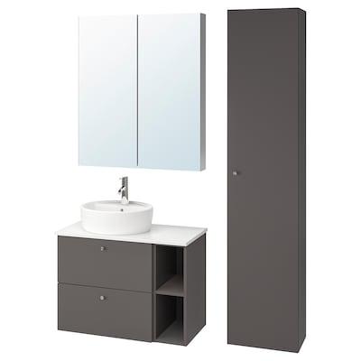 GODMORGON/TOLKEN / TÖRNVIKEN Baderomsmøbler, 7 deler, Gillburen mørk grå/marmormønstret Dalskär blandebatteri, 82x49x74 cm