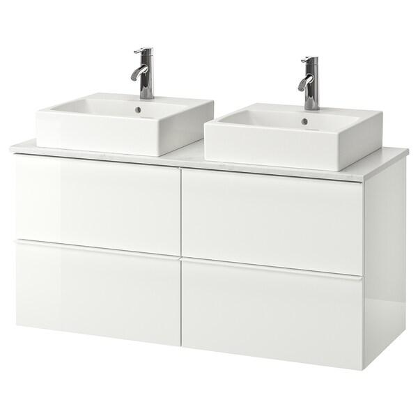 GODMORGON/TOLKEN / TÖRNVIKEN Skap m benkeplate t 45x45 servant, høyglans hvit/marmormønstret Dalskär blandebatteri, 122x49x72 cm