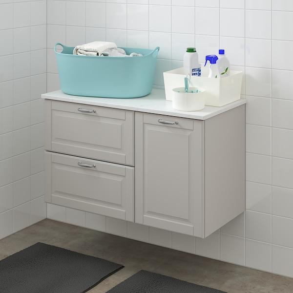 GODMORGON / TOLKEN servantskap med 3 skuffer Kasjön lys grå/marmormønstret 102 cm 49 cm 60 cm