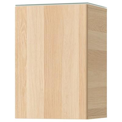 GODMORGON Veggskap med 1 dør, hvitbeiset eikemønster, 40x32x58 cm