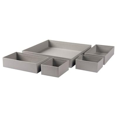 GRÅSIDAN boks, sett m 5 stk. grå