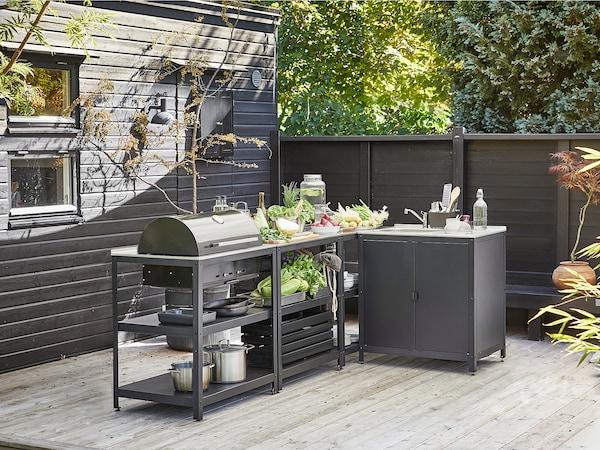 GRILLSKÄR Kjøkken m oppvaskkum/kullgrill, ute, rustfritt stål, 258x147 cm