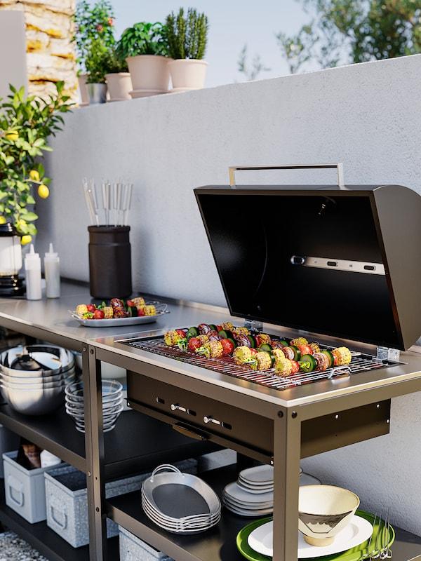 GRILLSKÄR Kjøkken med kullgrill, utendørs, rustfritt stål, 172x61 cm