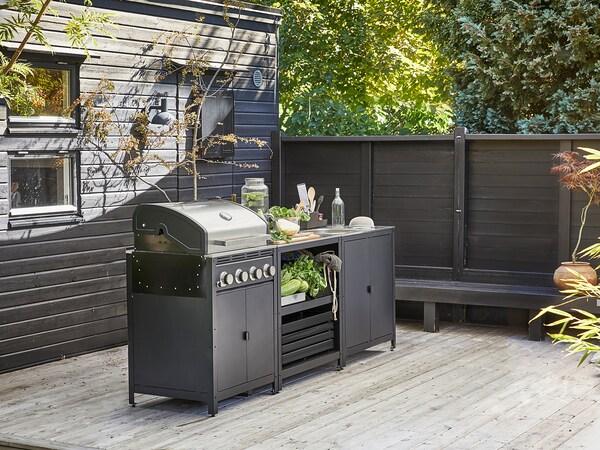 GRILLSKÄR Kjøkken med oppvaskkum/skap, utend, rustfritt stål, 86x61 cm