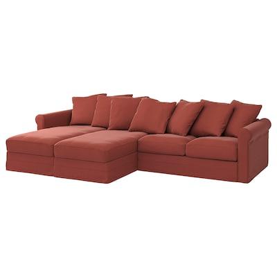 GRÖNLID 4-seters sofa med sjeselong, Ljungen lys rød