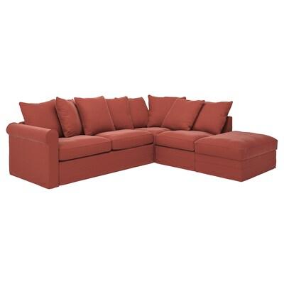 GRÖNLID Hjørnesovesofa, 4-seters, med åpen ende/Ljungen lys rød