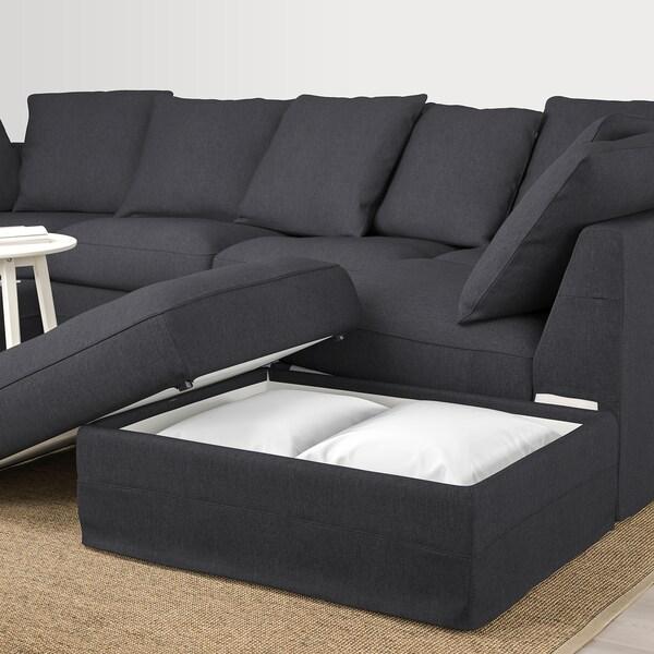 GRÖNLID U-formet 6-seters sofa, med åpen ende/Sporda mørk grå