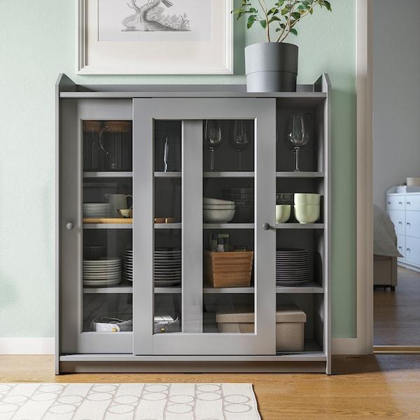 HAUGA Oppbevaringskombinasjon, grå, 244x46x116 cm