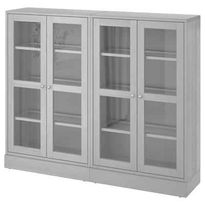HAVSTA Oppbevaringskombi m vitrinedører, grå, 162x37x134 cm