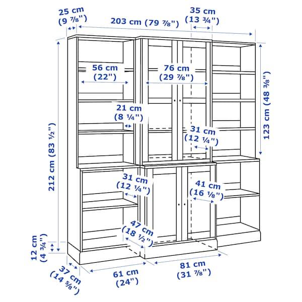 HAVSTA Oppbevaringskombi m vitrinedører, hvit, 203x47x212 cm
