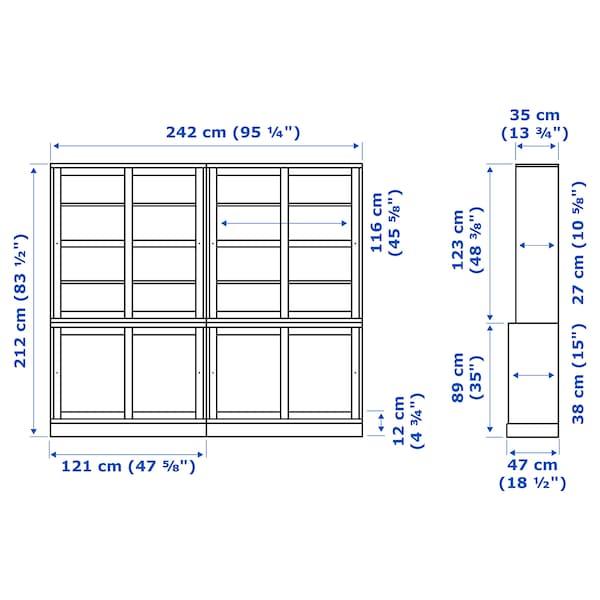 HAVSTA Oppbevaringskombinasjon skyvedører, grå, 242x47x212 cm