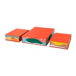 HEJSAN tidsskriftsamler, sett 3 stk., oransje, flerfarget
