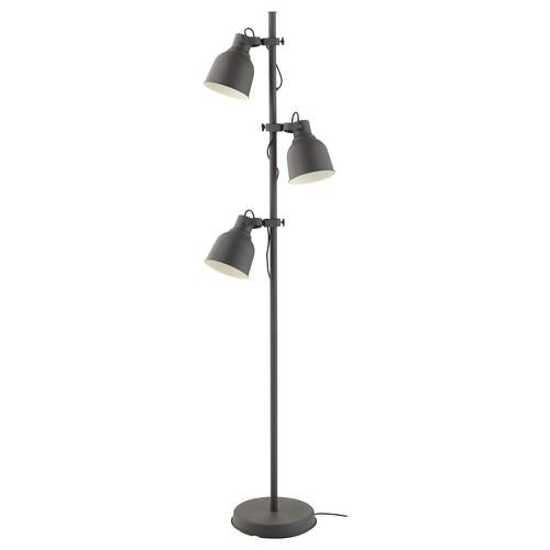 HEKTAR gulvlampe med 3 spotlys mørk grå 8.6 W 176 cm 30 cm 16.0 cm 280 cm