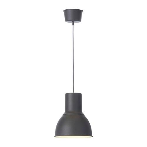 HEKTAR Taklampe , mørk grå Diameter: 22 cm Skjermhøyde: 26 cm Ledningslengde: 140 cm