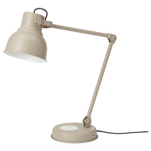 HEKTAR arbeidslampe med trådløs lading beige 7 W 16 cm 18 cm 1.9 m