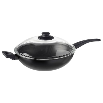 HEMLAGAD Wok med lokk, svart, 28 cm